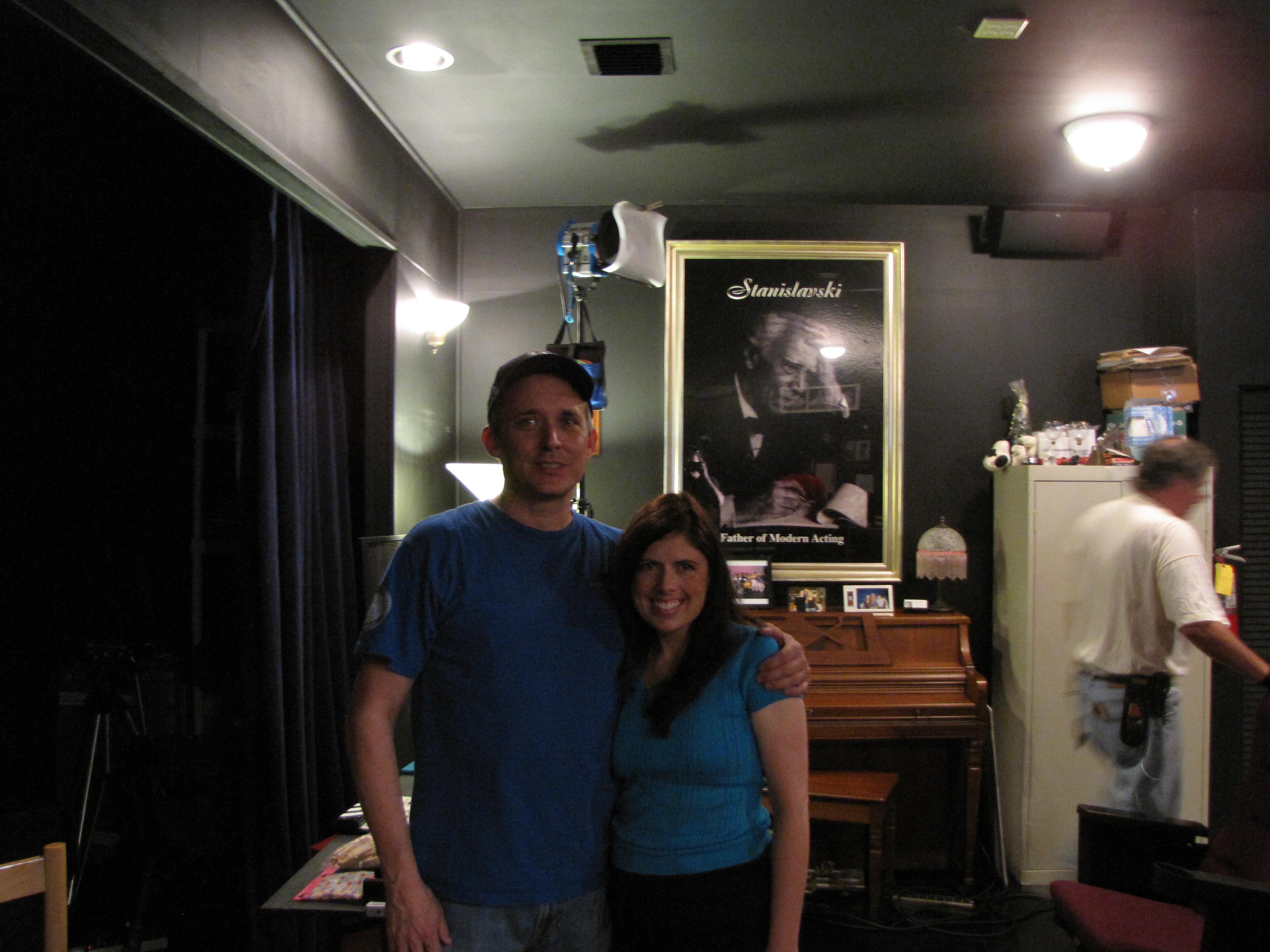 "Scott Gerard (camera operator) & Rachel Galvin on set of ""Lost Angel"""