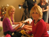"Rachel Galvin with Darlene Dinges on set of ""Lucky Streak & the Crime Fighters"""